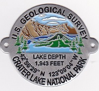 Hiking Stick Medallion- Crater Lake USGS in Color