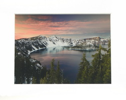 Twilight at Crater Lake Matted Print