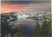 Crater Lake at Twilight Matted Print
