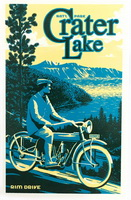 Sticker Crater Lake Retro Motorcycle