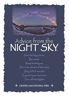 Your True Nature Greeting Card Advice from Crater Lake Night Sky
