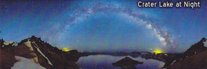 Wally Pacholka Magnet- Panoramic View of Night Sky over Crater Lake